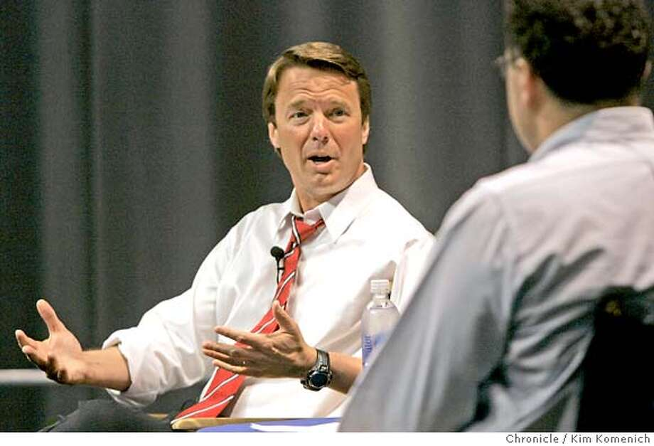 Presidential candidate John Edwards holds a town hall meeting at the Google campus in Mountain View Wednesday. He is interviewed by Google VP for Global Communications and Public Affairs Elliot Schrage. Photo by Kim Komenich/The Chronicle  **John Edwards, Elliot Schrage Photo: Kim Komenich