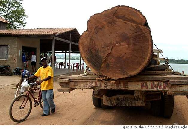 "A truck carries a tree trunk of Angelim Pedra wood (Hymenolobium excelsum) from federal land known as the ""middle lands"" in the south of Brazil's Amazonian state of Para, Oct. 1, 2004. As any satellite map can show, there is a direct link of road construction and forest destruction. As roads improve, migration increases, forest is cleared to make way got ranches and towns. Currently about 18,000 square kilometers is destroyed each year. In many ways the federal government promotes this situation with rural projects, highway construction and agrarian reform, while at the same time that it tries to stop it through the environmental agency IBAMA or the Federal Police.(AustralFoto/Douglas Engle) Douglas Engle/Special to The Chronicle Ran on: 05-28-2007  Vehicles produce clouds of dust as they rumble along Brazil's Trans-Iriri highway, which has several settlements but is not on any map. Photo: Douglas Engle"