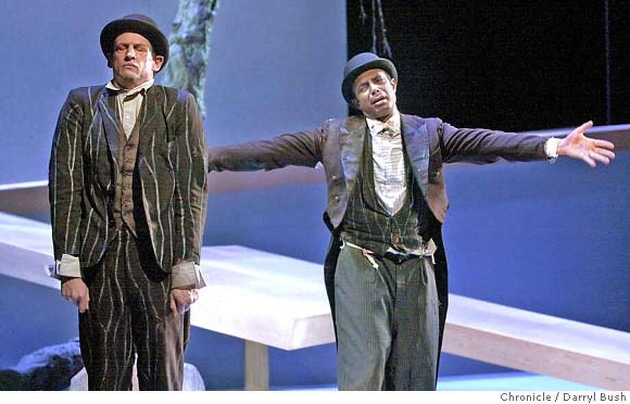 "� godot075_db.jpg Peter Frechette as Vladimir, left, and Gregory Wallace as Estragon, right, in ACT's ""Waiting For Godot."" (Note: These are the two lead actors according to ACT.) 10/16/03 in San Francisco. DARRYL BUSH / The Chronicle CAT MANDATORY CREDIT FOR PHOTOG AND SF CHRONICLE/NO SALES-MAGS OUT Photo: DARRYL BUSH"