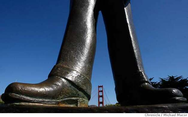 goldengatebridge1_216_mac.jpg A statue of Joseph B.Strauss the Chief Engineer of the Golden Gate Bridge project, stands at the Southern end of the bridge. The Golden Gate Bridge set to turn 70 years old on Sunday May 27th. Photographed in, San Francisco, Ca, on 5/21/07. Photo by: Michael Macor/ The Chronicle Mandatory credit for Photographer and San Francisco Chronicle No sales/ Magazines Out Photo: Michael Macor