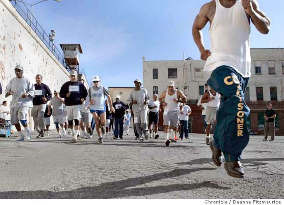 Inmates from San Quentin 1,000 Mile Running Club run for two hours to raise money for Children's Hospital Oakland. Deanne Fitzmaurice / San Francisco Chronicle Photo: Deanne Fitzmaurice