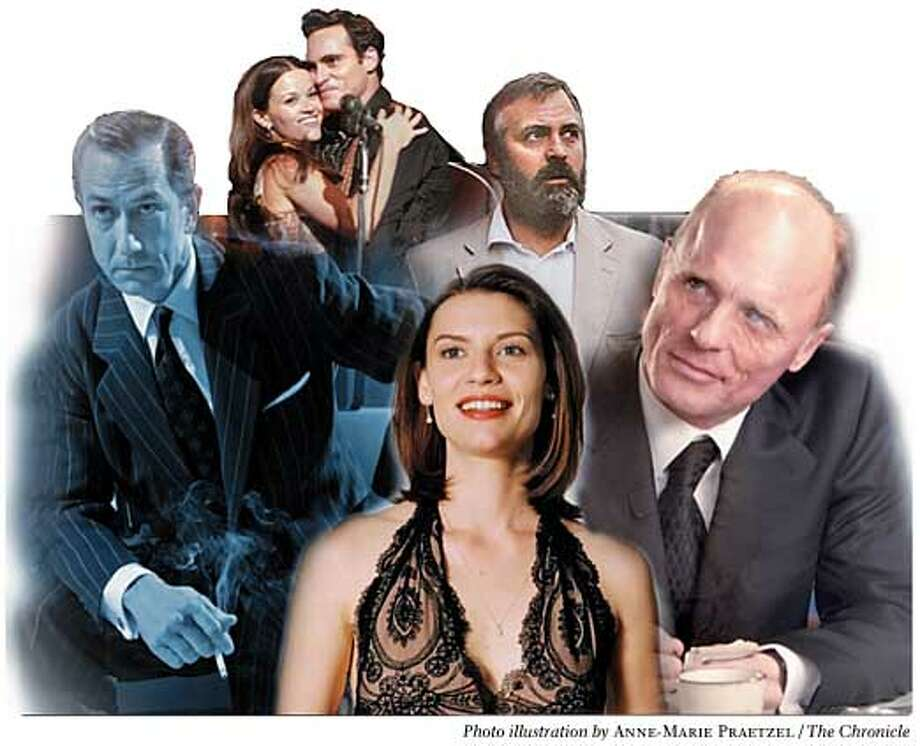 This year�s contenders may include (clockwise from left) David Strathairn, Reese Witherspoon, Joaquin Phoenix, George Clooney, Ed Harris and Claire Danes. Chronicle photo illustration by Anne-Marie Praetzel