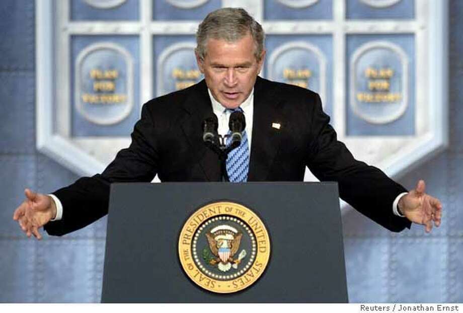 U.S. President George W. Bush delivers an address on the war in Iraq at the U.S. Naval Academy in Annapolis, Maryland, November 30, 2005. Trying to counter critics of his war strategy, President George W. Bush vowed on Wednesday that U.S. forces will not cut and run from Iraq but said improvements in Iraqi security forces may clear the way for a reduction in U.S. troops. REUTERS/Jonathan Ernst Photo: JONATHAN ERNST