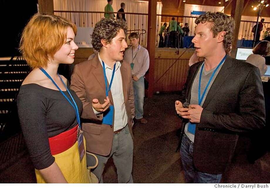 facebook25_0008_db.JPG  From left: Kate Jurkiewicz of Los Angeles (friend of Sean Parker) listens as Joe Green and Sean Parker, both of Project Agape talk while attending Facebook Platform Launch 2007 at The Concourse at the San Francisco Design Center in San Francisco, CA, on Thursday, May, 24, 2007. photo taken: 5/24/07  Darryl Bush / The Chronicle ** Kate Jurkiewicz, Joe Green Sean Parker (cq) MANDATORY CREDIT FOR PHOTOG AND SF CHRONICLE/NO SALES-MAGS OUT Photo: Darryl Bush