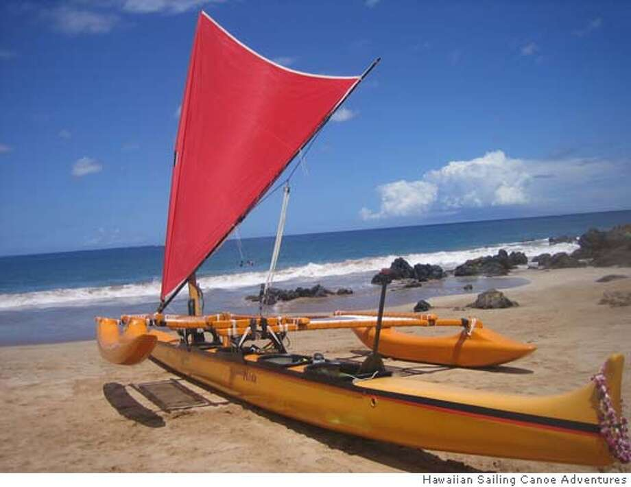� TRAVEL MAUI CANOE -- Hawaiian Sailing Canoe Adventures' modern outrigger canoe, Hina, offers two-hour sailing trips from Polo Beach in Wailea, Maui. Courtesy Hawaiian Sailing Canoe Adventures. Photo courtesy of Hawaiian Sailing Canoe Adventures Photo: Ho