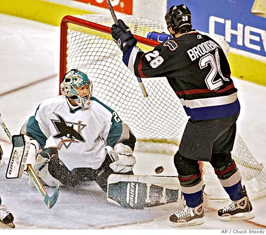Vancouver Canucks Wade Brookbank (28) gets the puck past San Jose Sharks goalie Evgeni Nabokov during the second period of NHL action in Vancouver Thursday November 24, 2005. (AP Photo/ Chuck Stoody, CP) Photo: CHUCK STOODY