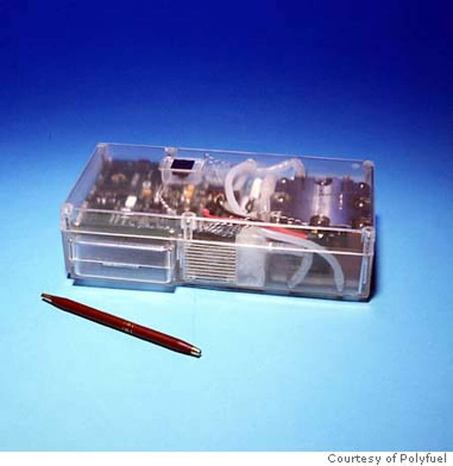 For FUELCELL01, Business, Tong ; A working prototype of a direct methanol fuel cell system that PolyFuel developed for a laptop computer. Photo courtesy of PolyFuel ; on 8/11/03 in . / Courtesy of Polyfuel