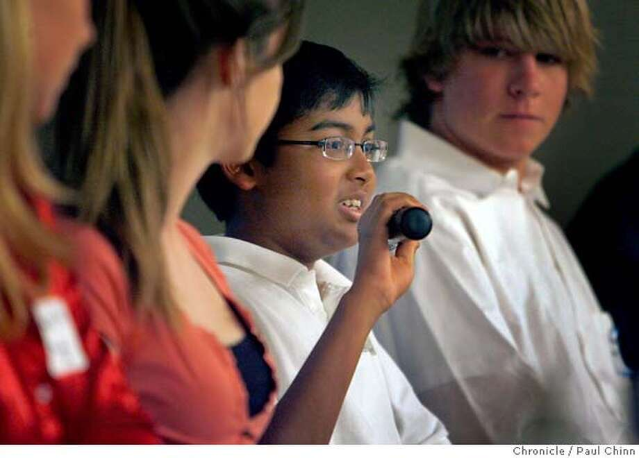 "Anshul Samar, 13-year-old CEO of Elementeo, joined a panel of high school technology experts at the ""Next Generation Tech: Teens Plugged In"" conference and forum hosted by Hewlett Packard in Palo Alto, Calif. on Wednesday, May 23, 2007.  PAUL CHINN/The Chronicle  **Anshul Samar MANDATORY CREDIT FOR PHOTOGRAPHER AND S.F. CHRONICLE/NO SALES - MAGS OUT Photo: PAUL CHINN"