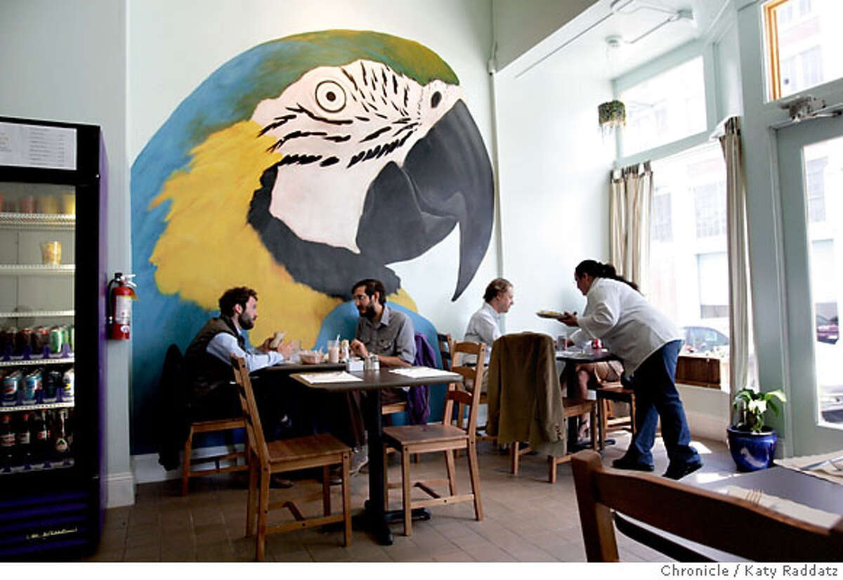 BARGAINBITES24_006_RAD.jpg SHOWN: THE BEAUTIFUL MURAL OF A MACAW PARROT ON THE WALL OF THE NEW SPOT RESTAURANT. The New Spot is a Mexican and Salvadorian restaurant with all menu items prices less than $10.00. These pictures were made in San Francisco, CA. on Thursday, May 3, 2007. (Katy Raddatz/The Chronicle) **