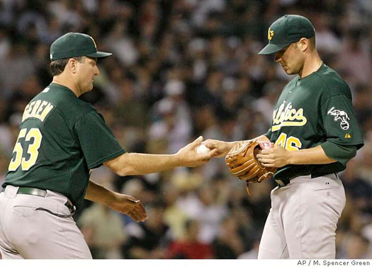 Oakland Athletics manager Bob Green takes pitcher Colby Lewis out of a baseball game during the fourth inning against the Chicago White Sox, Tuesday, May 22, 2007, in Chicago. (AP Photo/M. Spencer Green)