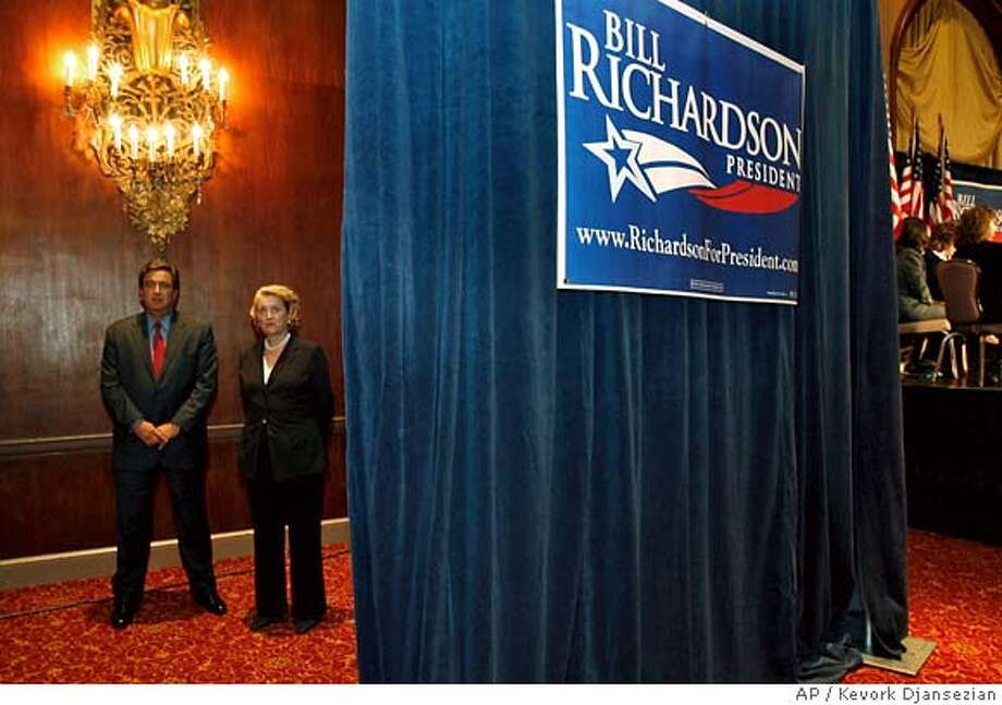 "Democratic presidential candidate New Mexico Gov. Bill Richardson and his wife Barbara wait to be introduced before officially launching Richardson's presidential campaign at the Biltmore Hotel in Los Angeles, Monday, May 21, 2007. Richardson vowed to repair the ""ravages"" of the Bush administration Monday as he formally announced his campaign for the Democratic presidential nomination. (AP Photo/Kevork Djansezian) Photo: Kevork Djansezian"