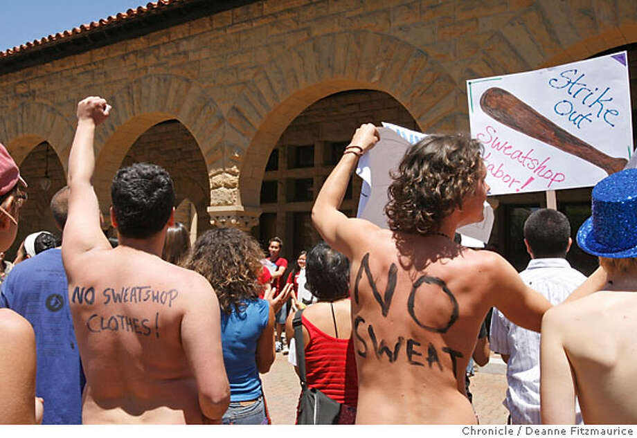 Stanford University students, some naked, hold a rally outside of the University President John Hennessy's office on campus to demand the University end sweatshop conditions in factories making its apparel. Chronicle Photographed in Stanford on 5/22/07. Deanne Fitzmaurice / The Chronicle Photo: Deanne Fitzmaurice