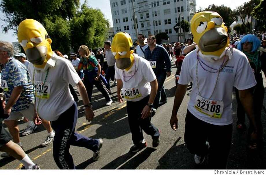 baytobreakers038.JPG  Homer Simpson was well represented by this group who preferred to walk the race.  The 96th annual Bay to Breakers foot race took over the streets of San Francisco Sunday morning as thousands ran from Howard and Beale Streets to Ocean Beach.  {Brant Ward/San Francisco Chronicle}5/20/07 Photo: Brant Ward