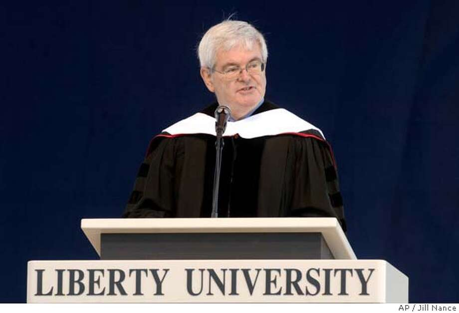 "Former House Speaker Newt Gingrich speaks to the graduating class of Liberty University on Saturday, May 19, 2007, at Williams Stadium in Lynchburg, Va. Gingrich told Liberty University's graduating class Saturday to honor the spirit of school founder, the late Jerry Falwell, by confronting ""the growing culture of radical secularism"" with Christian ideals. (AP Photo/The News & Advance, Jill Nance) Photo: Jill Nance"
