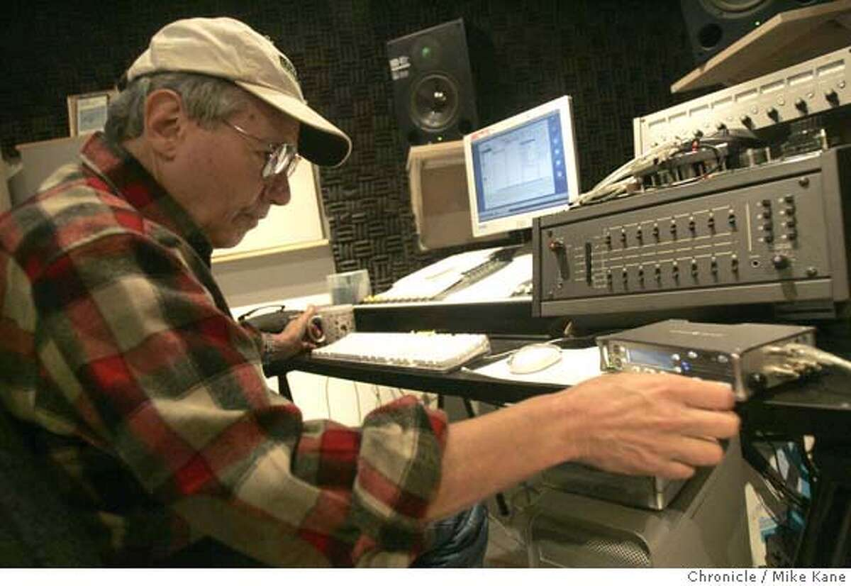 SOUND_038_MBK.JPG Bernie Krause, a PhD in bioacoustics, processes sound recorded during a demonstration of his sound recording technique at his home sound studio in Glen Ellen, CA, on Thursday, May, 10, 2007. photo taken: 5/10/07 Mike Kane / The Chronicle ** Bernie Krause MANDATORY CREDIT FOR PHOTOG AND SF CHRONICLE/NO SALES-MAGS OUT