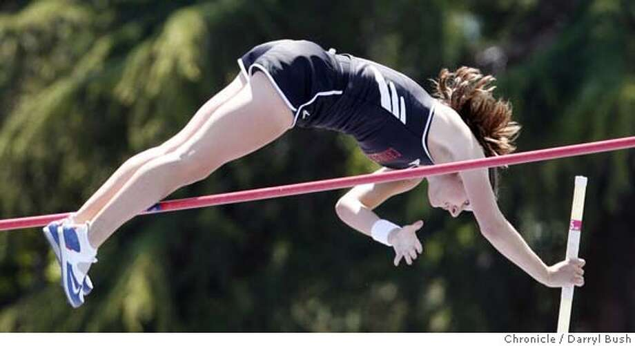 ccstrack20_0013_db.JPG  Tori Anthony of Castilleja vaults trying to clear 14' but can't quite make it on her final vault but goes on to win Girls Pole Vault with her earlier jump in at the Central Coast Section Track and Field Semifinals at San Jose City College in San Jose, CA, on Saturday, May, 19, 2007. photo taken: 5/19/07  Darryl Bush / The Chronicle ** roster (cq) MANDATORY CREDIT FOR PHOTOG AND SF CHRONICLE/NO SALES-MAGS OUT Photo: Darryl Bush