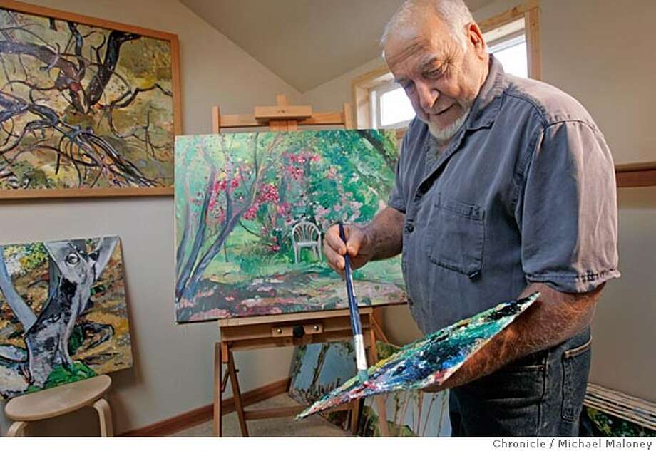 Artist Bill Broder at work in his studio.  Bill Broder of Walnut Creek is 66 years old and has been painting since he was 11 years old. He does an impressionist kind of painting working in both oils and acrylic. A house painter by trade, Broder has built a small studio in his back yard.  Event in Walnut Creek, CA  Photo by Michael Maloney / The Chronicle Photo: Michael Maloney