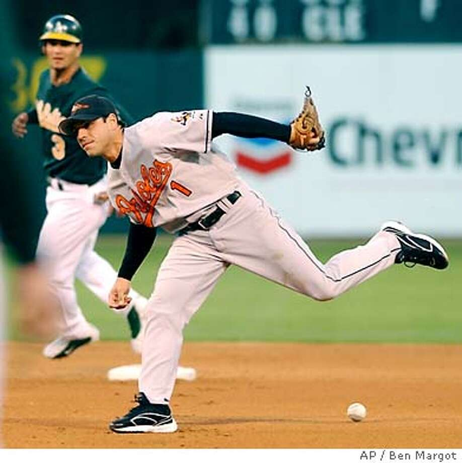 Baltimore Orioles second baseman Brian Roberts can't get to a ball hit by Oakland Athletics' Miguel Tejada in the first inning Tuesday, Aug. 26, 2003, in Oakland, Calif. At left is A's Eric Chavez on second base. (AP Photo/Ben Margot) Photo: BEN MARGOT