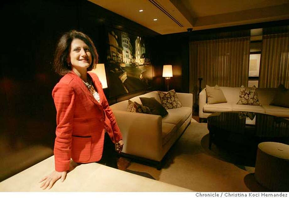 CHRISTINA KOCI HERNANDEZ/CHRONICLE  Niki Leondakis, the Kimpton Group's chief operating officer , in the 5th floor lounge.The San Francisco operator of boutique hotels, the Kimpton Group is expanding nationally and rolling out new Hotel Palomars, one of its hip brands, which is modeled on the Hotel Palomar at the southwest corner of Fourth and Market. We'd like a shot illustrating the sleek and offbeat nature of the hotel's interior design. Niki Leondakis, the Kimpton Group's chief operating officer and one of the key interviewees in the story, will be present for the shoot. She should be in some, but not all, of the shots. Photo: CHRISTINA KOCI HERNANDEZ