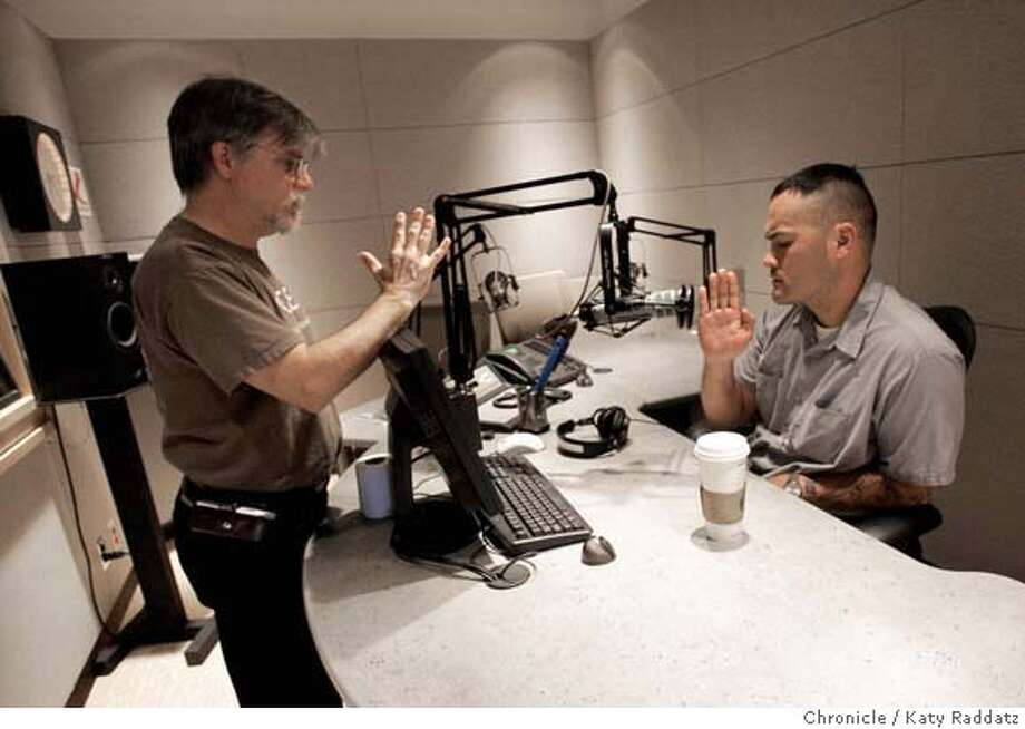 ".jpg SHOWN: R: Colby Buzzell in the studio of KQED Radio, where he about to tape ""Face the Nation."" LEFT: Engineer Howard Gelman. Colby Buzzell started an online journal while he was serving in Iraq; now re's a second-time recipient of the Blooker Prize and has a book out called ""My War: Killing Time in Iraq."" These pictures were made in San Francisco CA. on Wednesday, May 16, 2007.  (Katy Raddatz/The Chronicle)  **Colby Buzzell, Howard Gelman Mandatory credit for the photographer and the San Francisco Chronicle. No sales; mags out. Photo: Katy Raddatz"