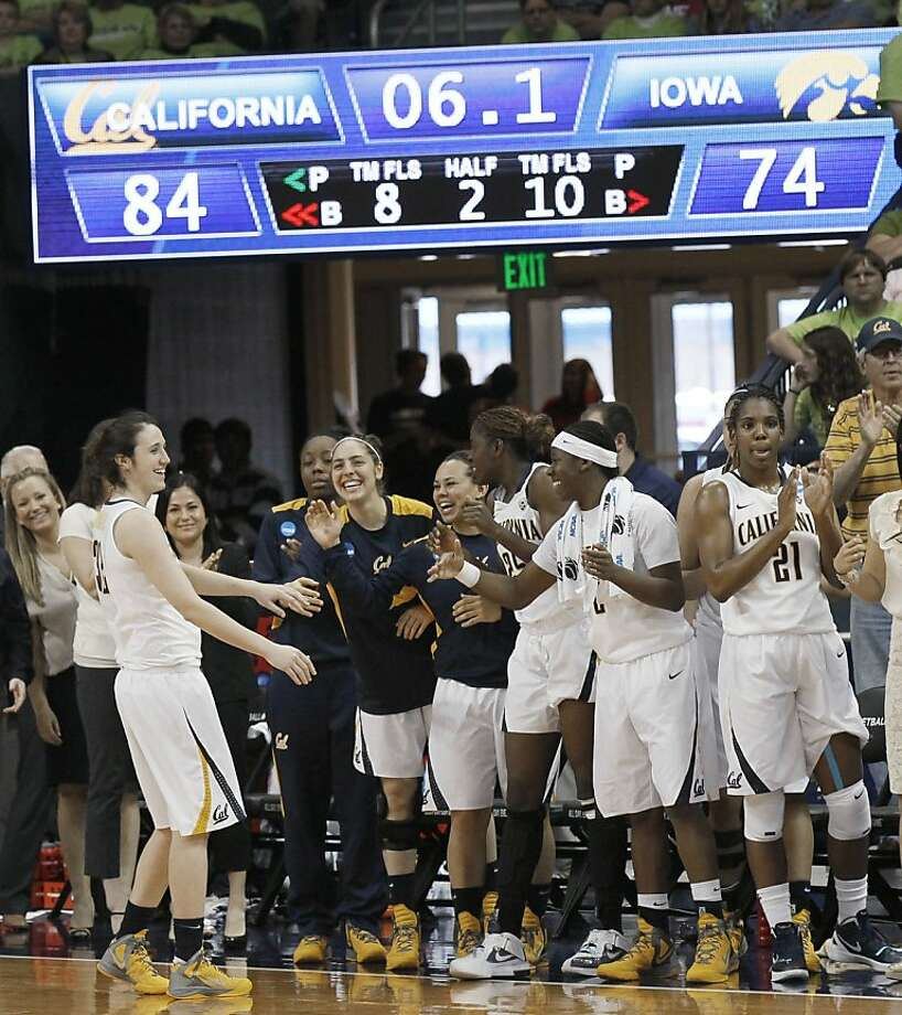 California celebrates in the closing seconds of an 84-74 win over Iowa in an NCAA tournament first-round women's college basketball game in South Bend, Ind., Sunday, March 18, 2012. (AP Photo/Charles Rex Arbogast) Photo: Charles Rex Arbogast, Associated Press