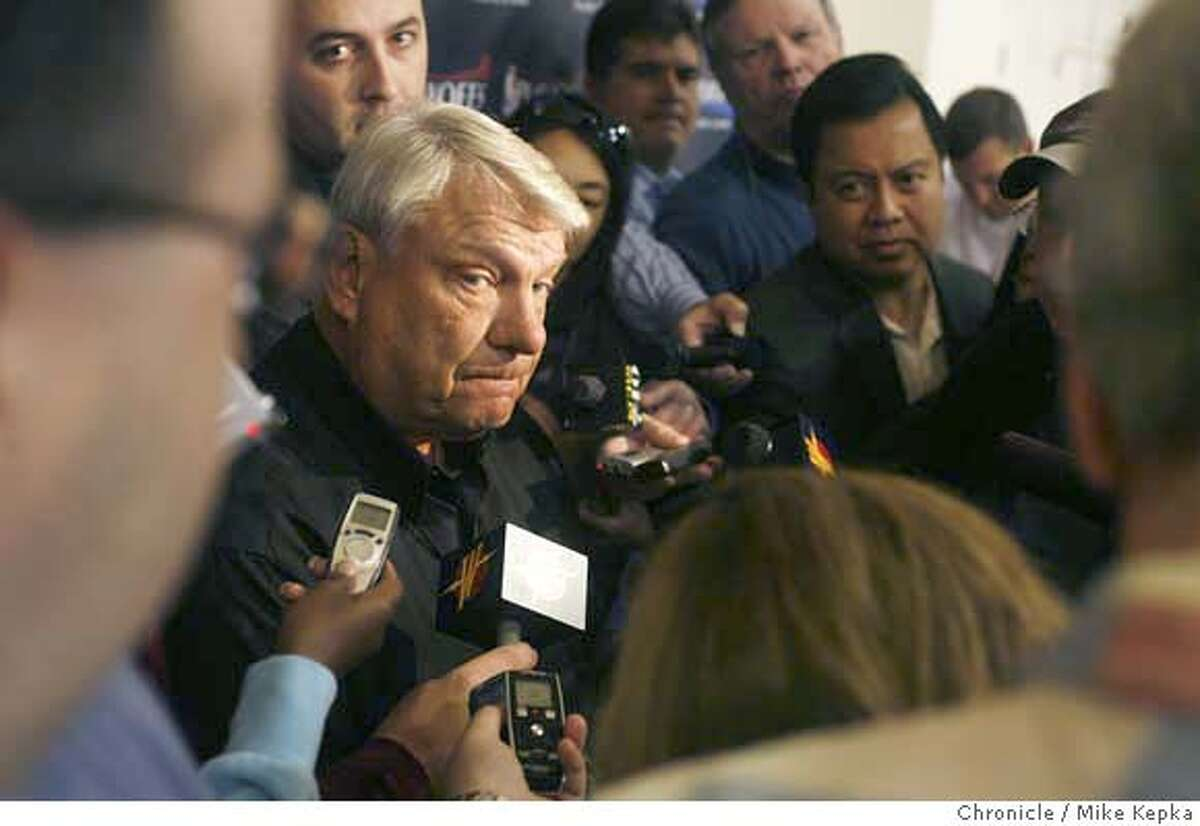 warriors00047_mk.JPG At the practice facility in Oakland, Warriors coach Don Nelson holds his last press conference of the season the day after the Golden State warriors lost to the Utah Jazz. Mike Kepka / The Chronicle Don Nelson (cq)