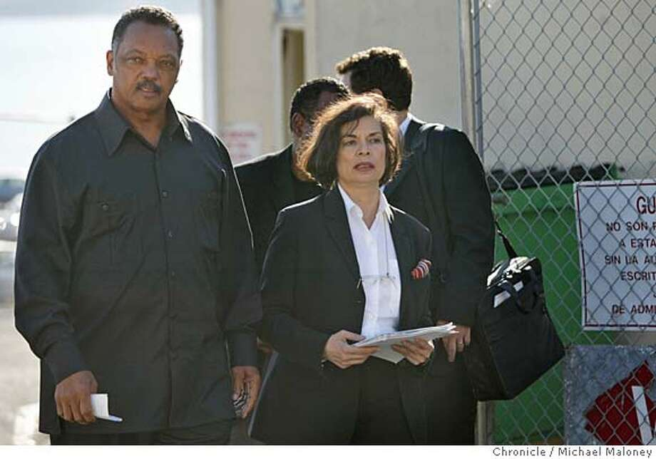 TOOKIE04_014_MJM.jpg  Reverend Jesse Jackson and Bianca Jagger leave the gates of San Quentin after visiting San Quentin death row inmate Stanley Tookie Williams and then held a press conference at the gates to San Quentin today. Williams is scheduled to be put to death next month.  Event in San Quentin, CA  Photo by Michael Maloney / The Chronicle MANDATORY CREDIT FOR PHOTOG AND SF CHRONICLE/ -MAGS OUT Photo: Michael Maloney