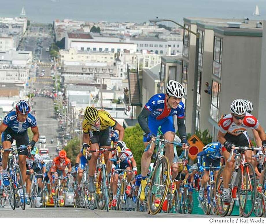 About two hours into the grueling 109 mile San Francisco Grand Prix riders huff and puff there way to the top of Filmore street, the steepest hill in the race. SAN FRANCISCO CHRONICLE PHOTO BY KAT WADE Photo: KAT WADE