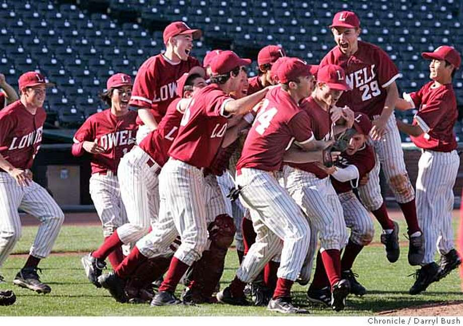 preps17_0009_db.JPG  Lowell High School teammates celebrate their win over George Wahington High School. Lowell High School defeats George Washington High School 8-3 to take the AAA San Francisco Section title game at AT&T Park in San Francisco, CA, on Wednesday, May, 16, 2007. photo taken: 5/16/07  Darryl Bush / The Chronicle ** roster (cq) Ran on: 05-17-2007  Lowell's baseball team celebrates its 13th San Francisco Section championship after defeating Washington on Wedneday at AT&T Park. The Cardinals won 8-3.  Ran on: 05-17-2007 Ran on: 05-17-2007  Lowell's baseball team celebrates its 13th San Francisco Section championship after defeating Washington on Wednesday at AT&T Park. The Cardinals won 8-3.  Ran on: 05-17-2007  Lowell's baseball team celebrates its 13th San Francisco Section championship after defeating Washington 8-3 on Wednesday at AT&T Park. For the story, see Page D2. Photo: Darryl Bush