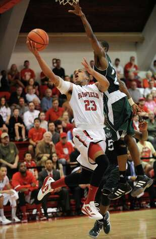 Fairfield's Jamel Fields. Fairfield vs. Manhattan men's basketball in the second round of the CollegeInsider.com Postseason Tournament at Alumni Hall in Fairfield on Sunday, March 18, 2012. Photo: Brian A. Pounds / Connecticut Post