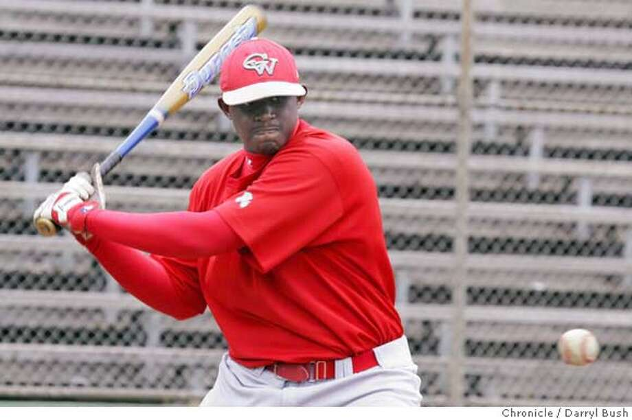dickson16_0076_db.jpg  George Washington High School's first baseman O'Koyea takes batting practice at Parks & Recreation baseball diamond in Golden Gate Park in San Francisco, CA, on Tuesday, May, 15, 2007. photo taken: 5/15/07  Darryl Bush / The Chronicle ** O'Koyea (cq) MANDATORY CREDIT FOR PHOTOG AND SF CHRONICLE/NO SALES-MAGS OUT Photo: Darryl Bush