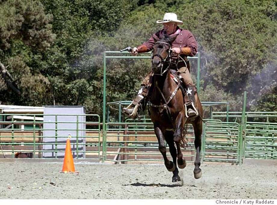 PNCOWBOY128_rad.jpg The Gilroy Range Riders does cowboy mounted shooting, and performs in Old West Reviews. We show them practicing at the Driscoll Ranch Event Center, La Honda, CA. SHOWN: Joe Squillacioti KATY RADDATZ / The Chronicle MANDATORY CREDIT FOR PHOTOG AND SF CHRONICLE/ -MAGS OUT Friday#Friday#Chronicle#08/22/2003#PN#Advance##0421338362 Photo: KATY RADDATZ