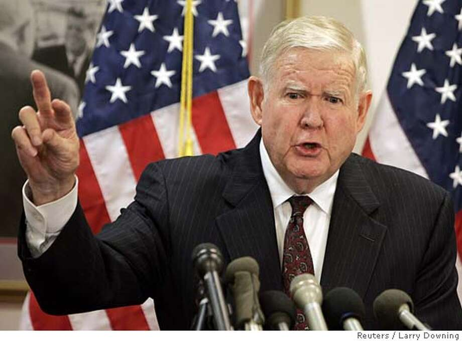 "U.S. Rep. John Murtha (D-Pa) calls for the withdrawal of U.S. military personnel from Iraq while at a news conference on Capitol Hill November 17, 2005. Murtha called the war ""a flawed policy wrapped in illusion"" and noted a shift in public sentiment against the war. REUTERS/Larry Downing 0 Photo: LARRY DOWNING"