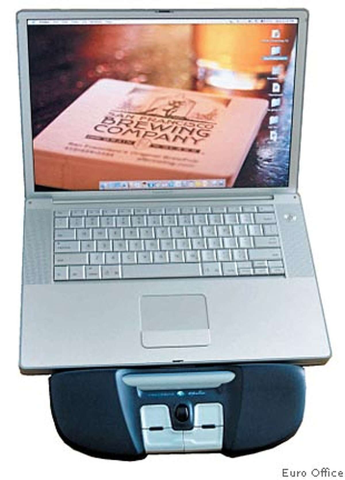 The Trackbar Emotion sits between user and laptop to reduce strain of reaching. Photo courtesy of Euro Office