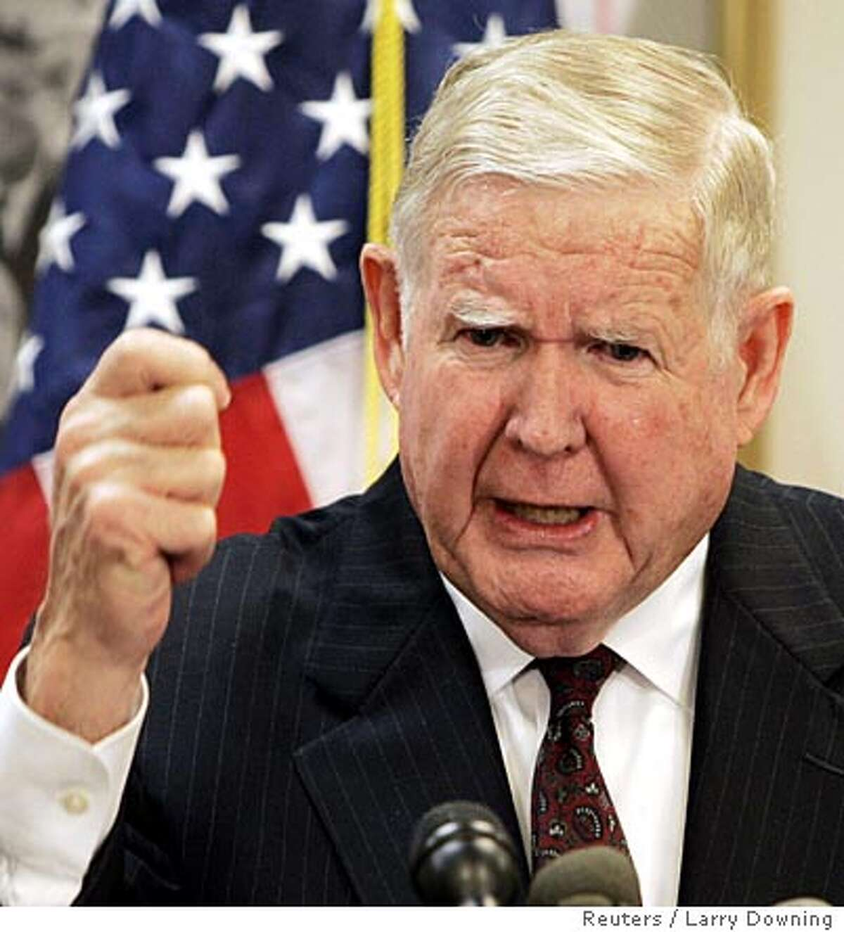 """U.S. Rep. John Murtha (D-Pa) calls for the withdrawal of U.S. military personnel from Iraq while at a news conference on Capitol Hill November 17, 2005. Murtha called the war """"a flawed policy wrapped in illusion"""" and noted a shift in public sentiment against the war. REUTERS/Larry Downing"""