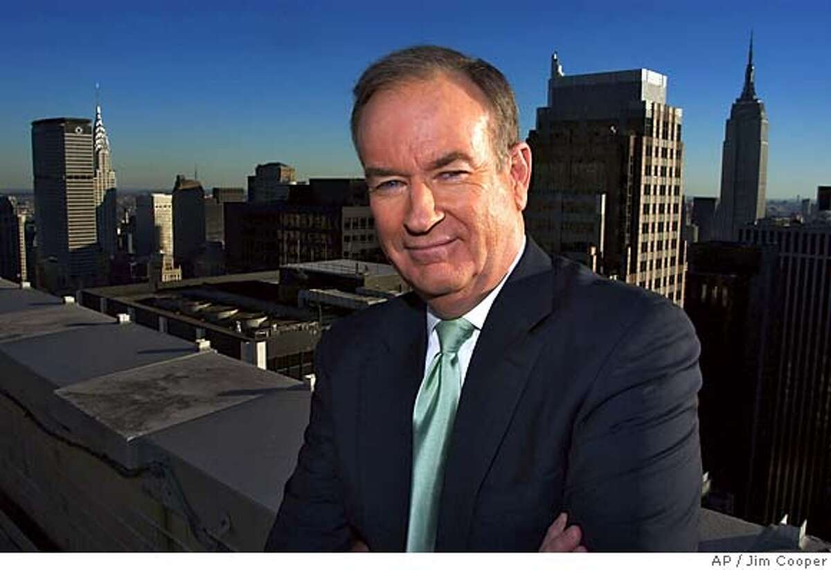 ** CAPTION CORRECTION, DELETES INCORRECT REFERENCE TO COUNTERSUIT, FOX FILED ITS SUIT FIRST ** FILE ** Fox News anchor Bill O'Reilly poses on the roof of the Fox building in New York in this Oct. 13, 2003 file photo.A Fox News Channel producer sued O'Reilly for sexual harassment Wednesday,Oct. 13, 2004 alleging her boss had phone sex with her against her wishes three times. Fox filed a claim of its own, saying the complaint was a politically motivated extortion attempt. (AP Photo/Jim Copper) Ran on: 10-14-2004 Andrea Mackris Ran on: 11-11-2005 Ashley Clark, from Castro Valley, photographs the view from near Coit Tower as Justin Bowen of San Ramon checks the telescope. Ran on: 11-11-2005 Ashley Clark from Castro Valley photographs the view from near Coit Tower as Justin Bowen of San Ramon checks the telescope. Ran on: 11-12-2005 Bill OReilly FILE