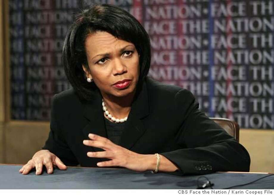 "In this photo provided by CBS News, Secretary of State Condoleezza Rice appears on CBS's ""Face the Nation"" in Washington, Sunday, April 29, 2007. (AP Photo/CBS Face the Nation, Karin Cooper) ** MANDATORY CREDIT: FACE THE NATION, KARIN COOPER NO SALES NO ARCHIVE ** MANDATORY CREDIT: FACE THE NATION, KARIN COOPER NO SALES NO ARCHIVE Photo: KARIN COOPER"