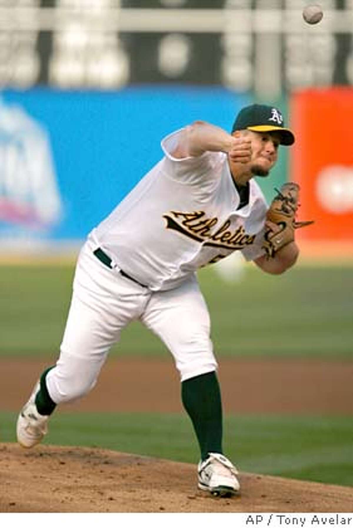 Oakland Athletics' Joe Blanton pitches to the Cleveland Indians in the first inning of a baseball game Friday, May 11, 2007, in Oakland, Calif. (AP Photo/Tony Avelar)