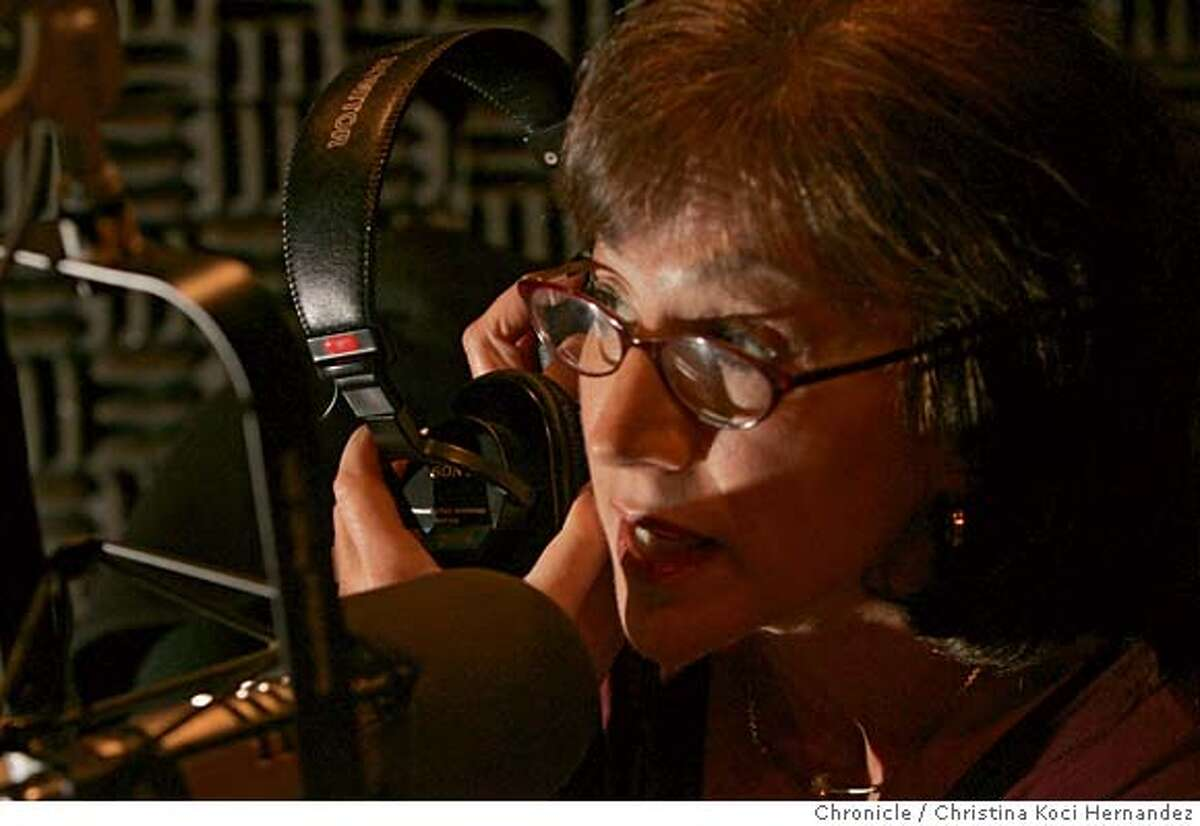Rosenberg does a sound check in the studio. Betsy Rosenberg is a longtime Bay Area radio journalist who has invested much of the last few years � and more than $100,000 from her retirement fund � to keep her nationally-broadcast environmental program on the air. But she may lose her pioneering show this month. (Christina Koci Hernandez/The Chronicle) CHRONICLE Photos by Christina Koci Hernandez
