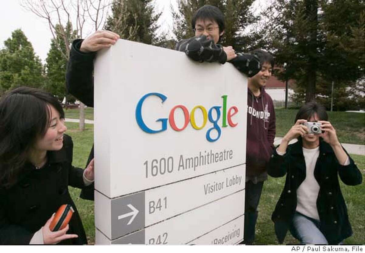 Japanese university computer students from schools in Tokyo pose for pictures as they tour around Google headquarters in Mountain View, Calif., Thursday, April 19, 2007. Google is expected to report first-quarter earnings after the closing bell Thursday. (AP Photo/Paul Sakuma) Ran on: 04-20-2007 Students from Tokyo pose for photos during a tour of Google headquarters Thursday, when the company reported another quarter of growing profit. Ran on: 04-20-2007 Students from Tokyo pose for photos during a tour of Google headquarters Thursday, when the company reported another quarter of growing profit.