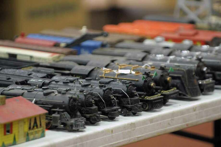 Model trains for sale at the Mountain Toy and Railroad Club Albany Toy and Train Show at the Polish Community Center on Sunday, March 18, 2012 in Albany, NY.  The Mountain Toy and Railroad Club, which is out of Hudson, holds four of the shows a year, two in Albany and two in Hudson.  The shows include displays of model trains and vendors that buy sell and trade model trains and toys.  The club's next show will be November 18, 2012 in Albany.   (Paul Buckowski / Times Union) Photo: Paul Buckowski