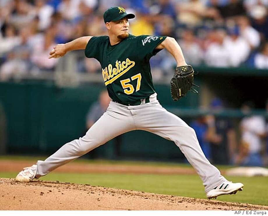 Oakland Athletics starting pitcher Chad Gaudin throws against Kansas City Royals' Mark Teahen during the third inning of a baseball game Tuesday, May 8, 2007, in Kansas City, Mo. (AP Photo/Ed Zurga) Photo: Ed Zurga