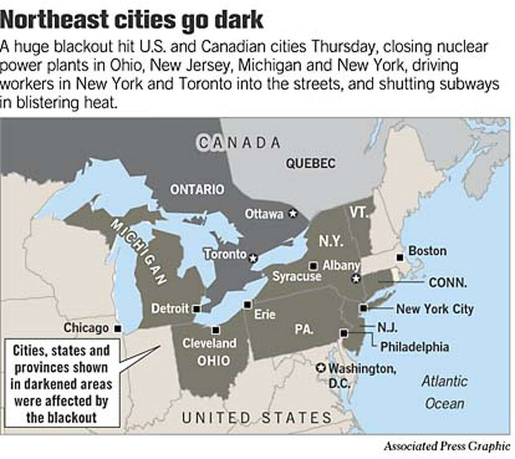 Image result for a blackout hits the us and canada