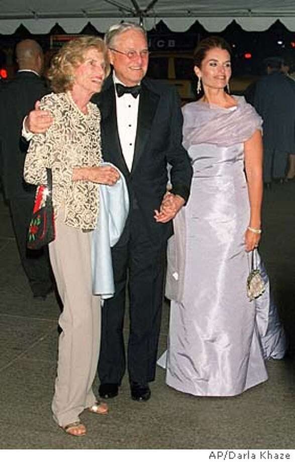 Eunice K. Shriver, left, husband Sargent, and daughter Maria arrive at New York's Metropolitan Museum of Art for a fund-raising gala honoring Jacqueline Kennedy's glamorous style Monday, April 23, 2001. Proceeds from the $3,500-a-plate dinner will go to the museum's Costume Institute. (AP Photo/Darla Khazei) Photo: DARLA KHAZEI