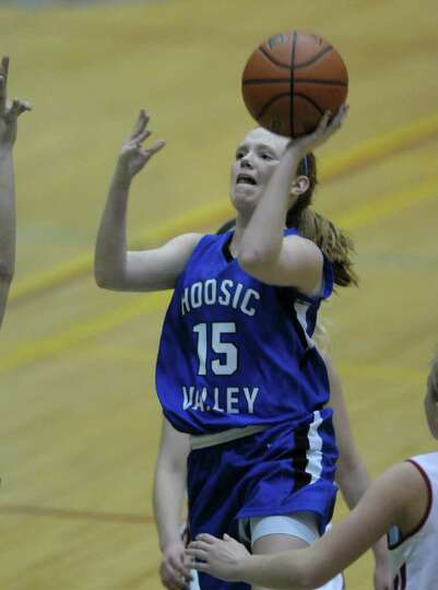 Whitney Kugler of Hoosic Valley High School puts up a shot during the Class C girls' basketball fina