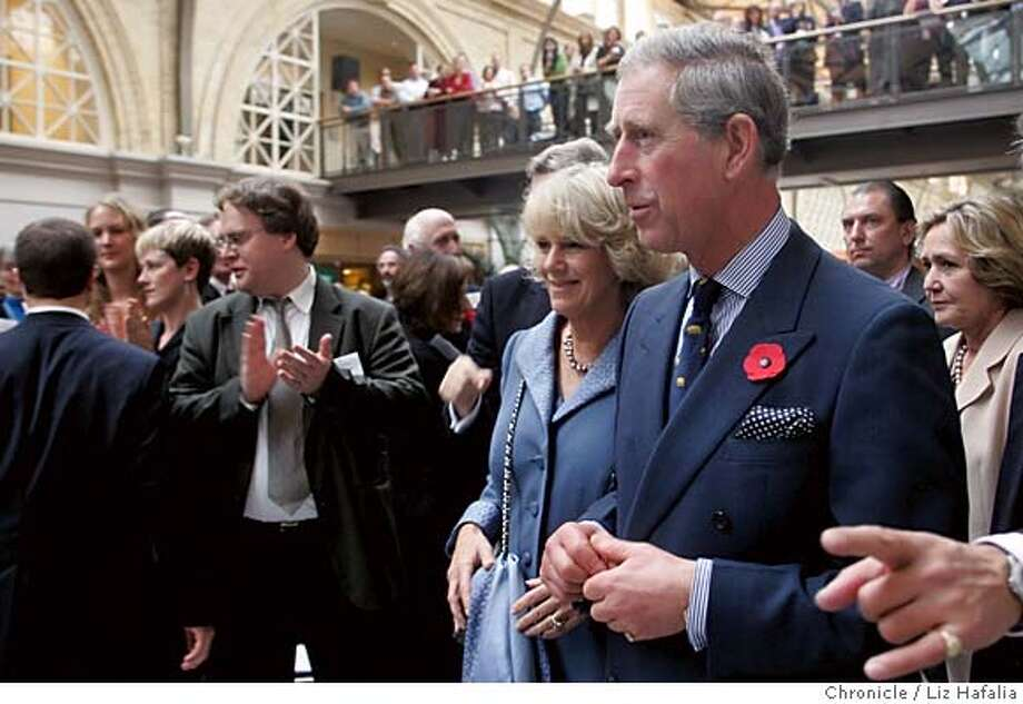 Prince Charles and his wife, Camilla, Duchess of Cornwall, attend an environmental event at the Ferry Building in San Francisco Monday, Nov. 7, 2005. Charles and Camilla were to fly back to Britain on Tuesday after a trip intended to underscore trans-Atlantic ties, promote Charles' environmentalist causes and burnish the profile of the middle-aged royals.(AP Photo/San Francisco Chronicle, Liz Hafalia) ** NORTHERN CALIFORNIA MANDATORY CREDIT PHOTOGRAPHER AND CHRONICLE; NO MAGS, ** NORTHERN CALIFORNIA MANDATORY CREDIT PHOTOGRAPHER AND CHRONICLE ; NO MAGS, Photo: LIZ HAFALIA