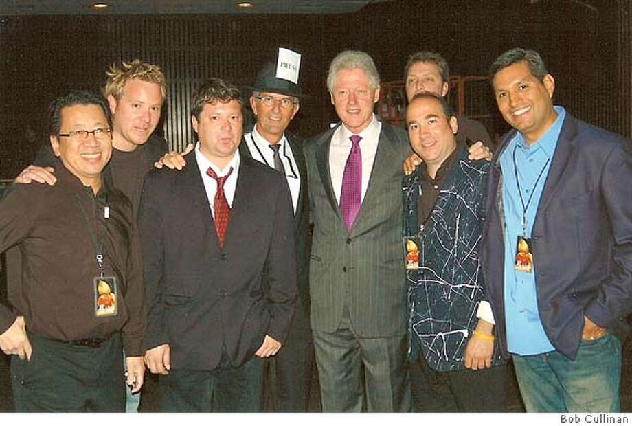 left to right, it's me, Zack Heene, Patrick Sedillo, Stan Bunger, Bill Clinton, Doug Sovern, and Joe Vazquez,  with Craig Bunger behind Sovern. Ran on: 05-06-2007  Ben Fong-Torres (from left), Zack Heene, Patrick Sedillo, Stan Bunger, Bill Clinton, Craig Bunger (background), Doug Sovern and Joe Vazquez. Members of the Eyewitness Blues Band hoped the former president would play saxophone with them, but they were disappointed. Photo: Bob Cullinan 2097