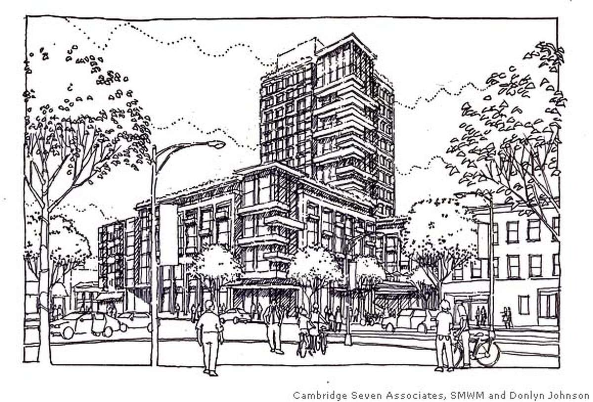 slug: downtown05 credit: Cambridge Seven Associates, SMWM and Donlyn Johnson caption: Preliminary sketch of the proposed hotel and conference center as seen from the corner of Shattuck Avenue and Center Street in Berkeley.