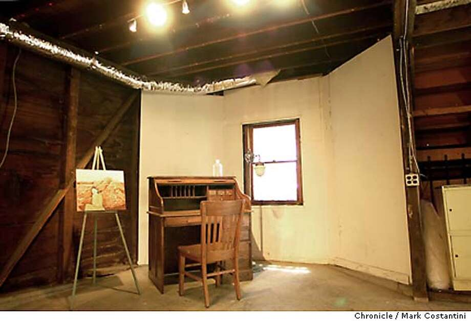 {london07_mc} Basement/art studio area and an old desk that sits where London did his writing. A modest East Oakland Victorian home where author Jack London penned his first novel is being sold. The owners of the historical landmark asked $259,000 for it, but competition between 12 bidders drove the price up. The 2 bedroom home on Foothill Blvd. was built about 1890. London moved in with his mother when he was 22, broke and sick after a gold prospecting expedition in Alaska. He took odd jobs, but set himself to write 1000 words a day, and soon had published his first story and won a book contract. London moved on after two years and the home has stayed in private hands. It was carefully remodeled by its current owners, who are selling it after five years. {08/06/03} in {Oakland}. {PHOTO: MARK COSTANTINI} / {CHRONICLE} Photo: MARK COSTANTINI