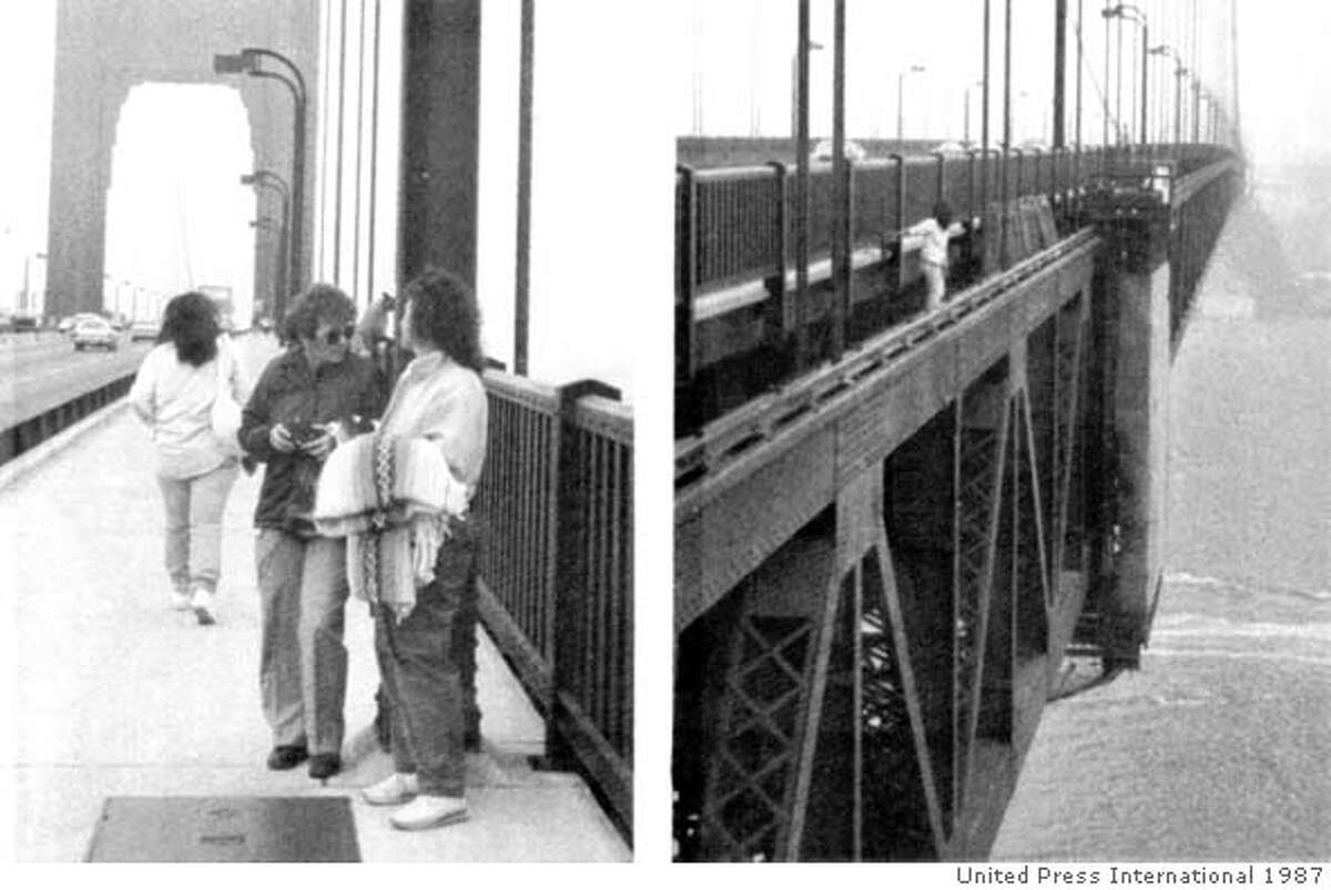 Unindentified woman walks past tourists Allene Hudgens, Ogden, Utah (left) and Charlene Sparrow (right), as they had their picture taken on the Golden Gate Bridge May 11, 1987. Having passed the tourists, the unidentified woamn climbed over bridge railing stepping off to her death.